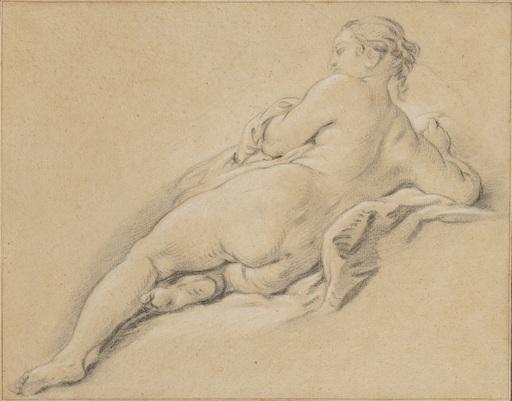Jean-Baptiste DESHAYS DE COLLEVILLE - Zeichnung Aquarell - Académie de jeune femme allongée, vue de dos