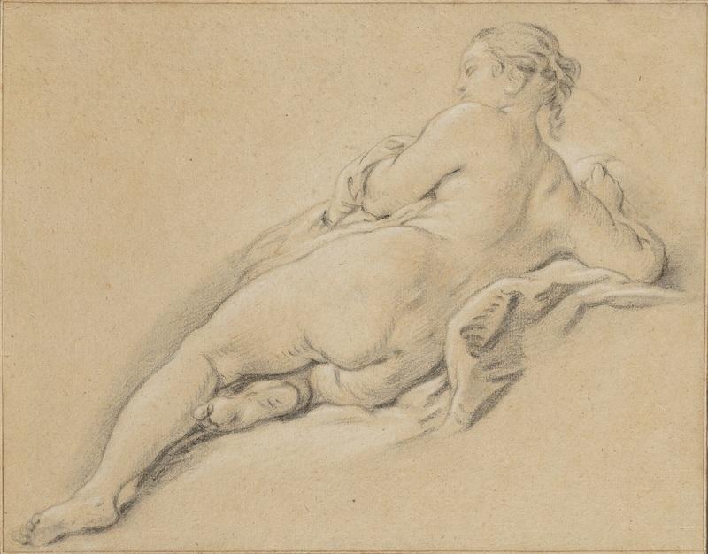 Jean-Baptiste DESHAYS DE COLLEVILLE - Disegno Acquarello - Académie de jeune femme allongée, vue de dos