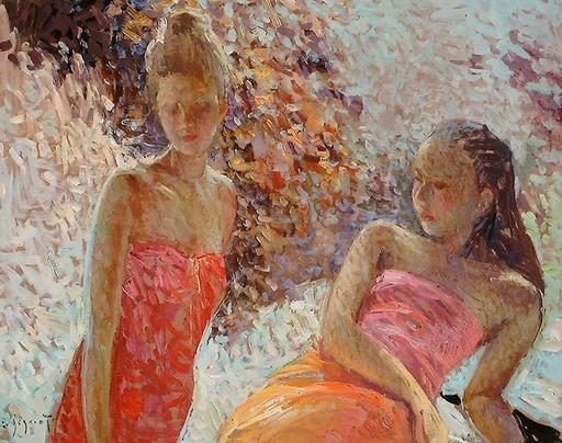 Eugène BEGARAT - Pintura - Dans le jardin