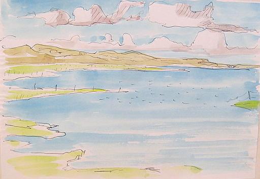 Paul MECHLEN - Drawing-Watercolor - Sylter Dünenlandschaft am Meer.