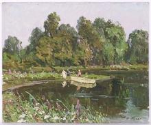 """Vladimir Aleksandrovich ZHUGAN - Pintura - """"At a Lake"""", Oil Painting, 1970s"""