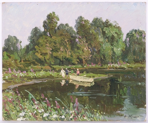"Vladimir Aleksandrovich ZHUGAN - Pittura - ""At a Lake"", Oil Painting, 1970s"