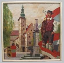 """Josef BRUNNER - Painting - """"Klagenfurt in Austria"""", Oil Painting, 1930's"""