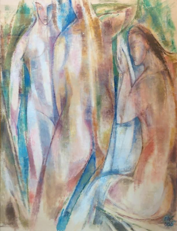 Ernst WOLFHAGEN - Zeichnung Aquarell - Badende Frauen