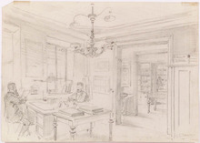 "Ladislaus Eugen PETROVITS - Dibujo Acuarela - ""At the Study"",  late 19th Century"