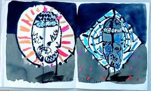 José ORTEGA - Dibujo Acuarela - Two Heads