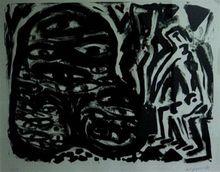 A.R. PENCK - Estampe-Multiple - Ein Monster erscheint