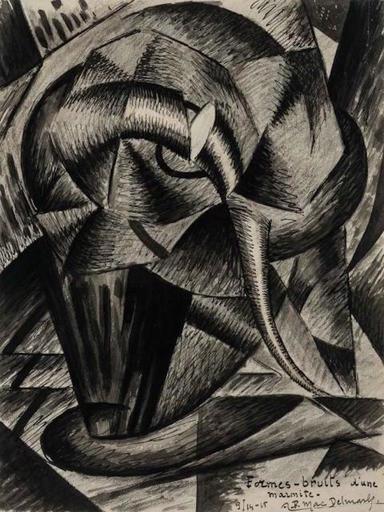 Félix Lucien Aimé DELMARLE - Dibujo Acuarela - Formes-bruits d'une marmite