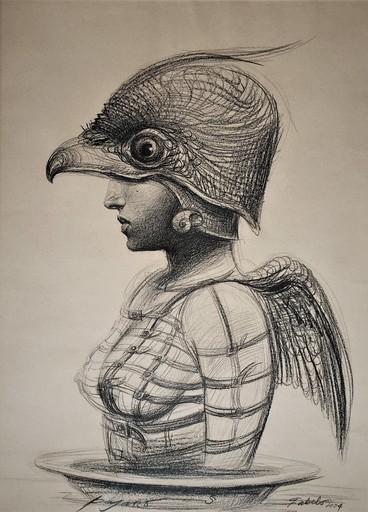 Roberto FABELO - Drawing-Watercolor - Pajaro I (serie)