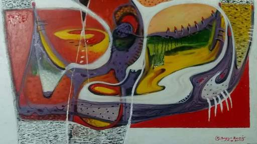 R.U. SUBAGIO - Painting - Singing of Land Water  Wind and Fire