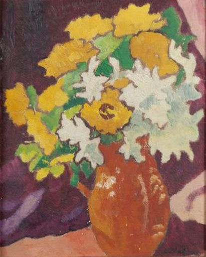 Louis VALTAT - Painting - Narcisses et soucis