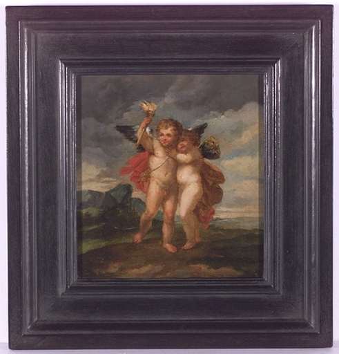 "Januarius Johann Rasso ZICK (Attrib.) - Painting - ""Two Putti"", Oil Painting"