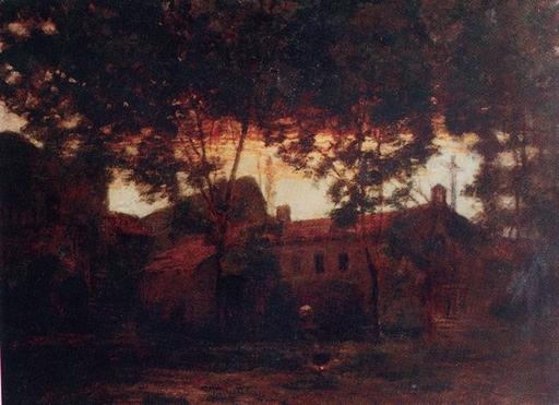 Victor CHARRETON - Peinture - Scorcio di villaggio bretone, 1920 ca
