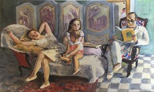 Pierre DEVAL - Drawing-Watercolor - La lecture et le divan