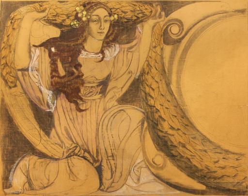 Giulio BARGELLINI - Zeichnung Aquarell - Bozzetto per il mosaico di una fontana di Tripoli