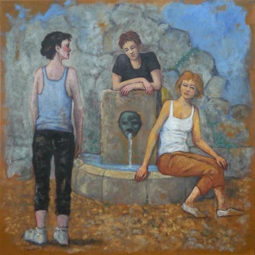 Carlos ESTEBAN - Painting - Femmes à la fontaine (Corse bleu n° 2)    (Cat N° 3438)