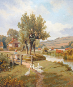 Henry MAIDMENT - Painting - Feeding the Ducks