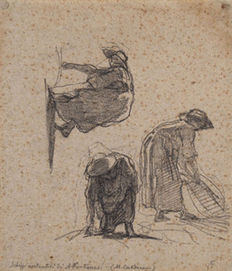 Antonio FONTANESI, Three sketches of peasant women at work