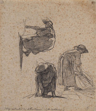 Antonio FONTANESI (1818-1882) - Three sketches of peasant women at work
