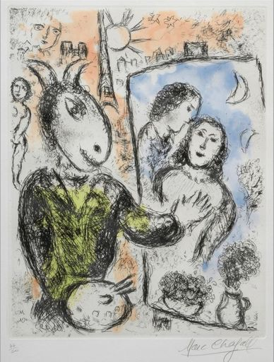 Marc CHAGALL - Grabado - Le couple
