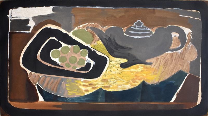 乔治•布拉克 - 版画 - Teapot and Grapes   Théière et Raisin