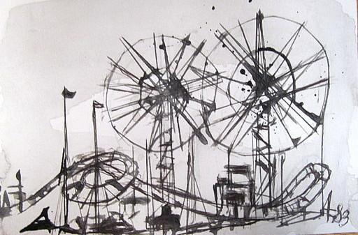 Arnold FIEDLER - Disegno Acquarello -  *Achterbahn* auf stärkerem Papier