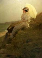 Edouard BISSON - Pintura - Elégante à l'ombrelle