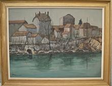 Jean TAVERNIER - Pintura - Maisons Genevoise , bord de rivière