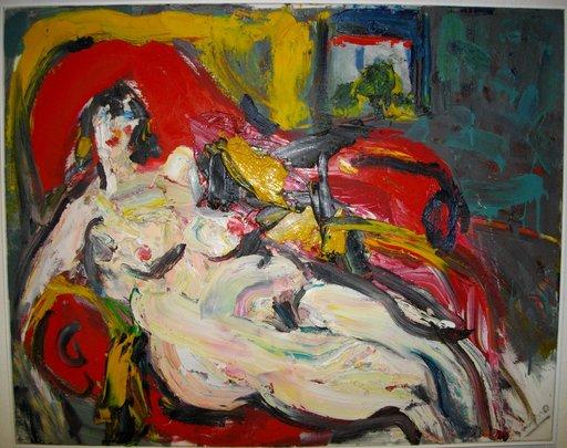 Bernard DAMIANO - Pittura - Nu au fauteuil rouge