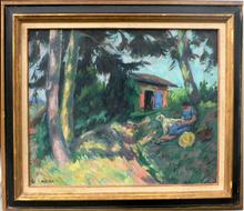Roger GRILLON - Pintura - La lecture sous les arbres à Maule