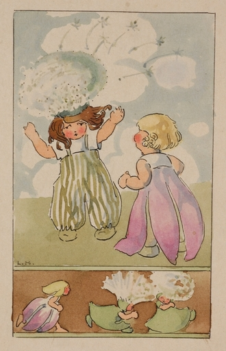 "Lisbeth HÖLZL - Zeichnung Aquarell - ""Month September"" by Lisbeth Hoelzl, early 20th Century"