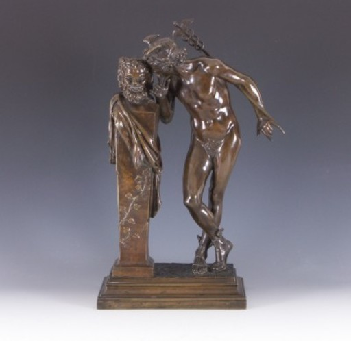 Hippolyte Alexandre MOULIN - Sculpture-Volume - Stehender Merkur mit Faun