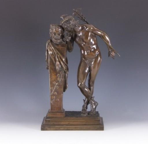 Hippolyte Alexandre MOULIN - Escultura - Stehender Merkur mit Faun