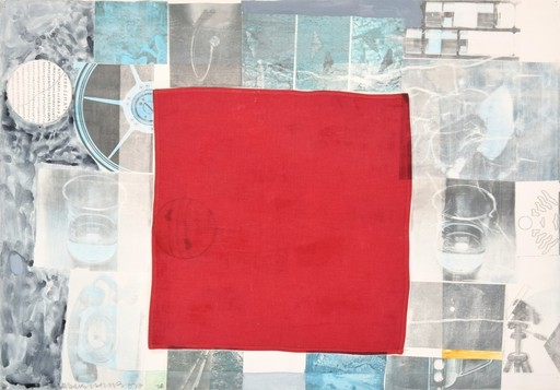 Robert RAUSCHENBERG - Painting - Large Robert Rauschenberg Mixed Media Collage