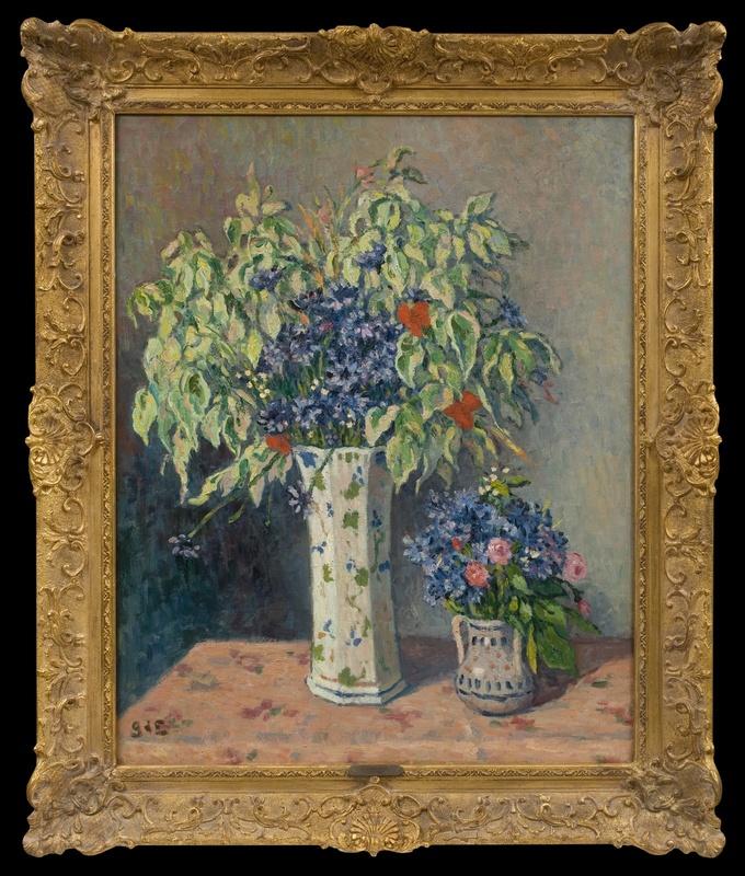 Georges D'ESPAGNAT - 绘画 - Les Deux Vases de Fleurs
