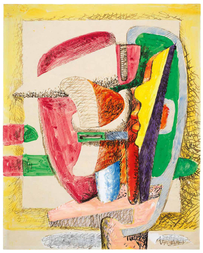 LE CORBUSIER - Drawing-Watercolor - Composition - Design for a sculpture
