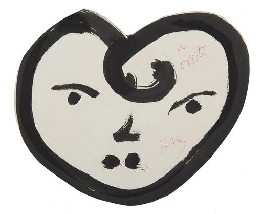 Henri MATISSE - Zeichnung Aquarell - Cœur-visage