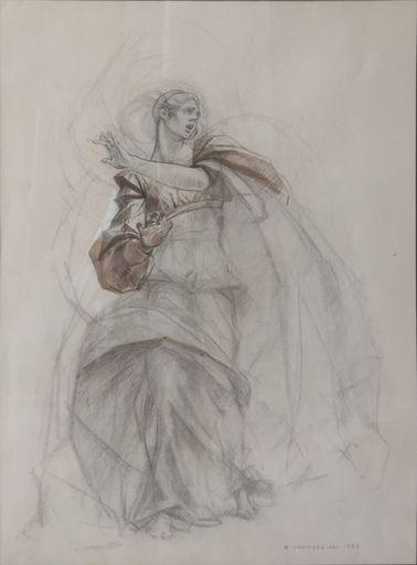 Romano PARMEGGIANI - Dessin-Aquarelle - Studio di donna