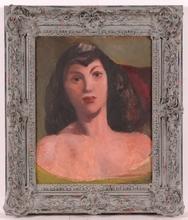 "Frederick SERGER - Peinture - ""Portrait of a Young Woman"", 1940's"