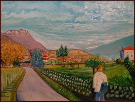 Jean-Claude RABOIN - Painting - promenade à Saint-Vincent-de-Mercuze