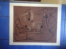 Pablo PICASSO (1881-1973) - FEMME COUCHEE ET HOMME AU GRAND CHAPEAU
