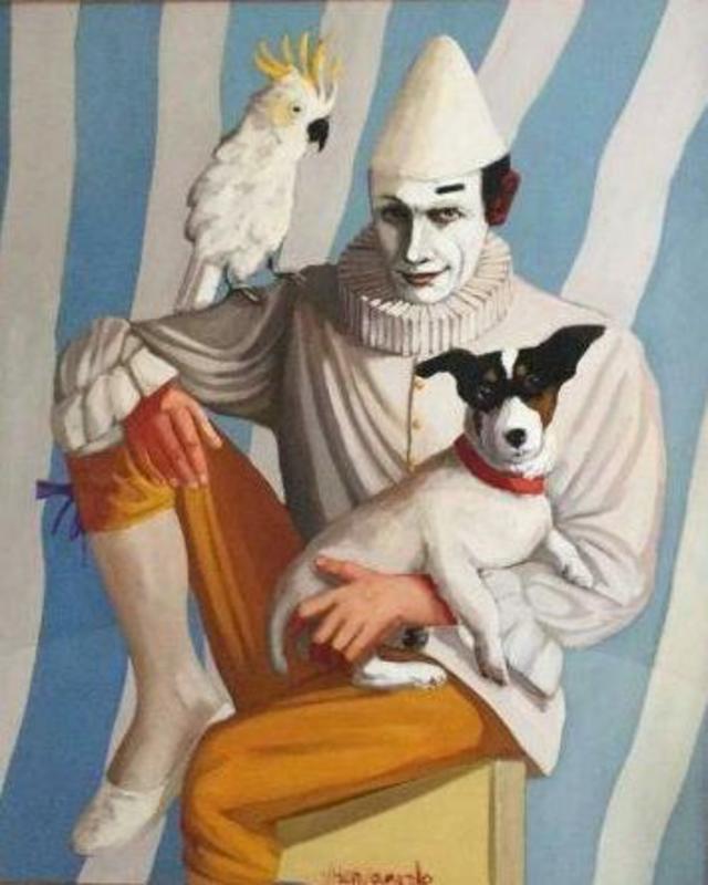 George Stanislaus VAN HERWAARDE - Painting - Clown met hond