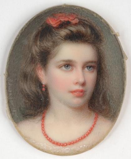 """Richard SCHWAGER - Disegno Acquarello - """"Portrait of a noble girl"""" miniature, 1870"""
