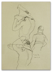 Michael LEONARD - Drawing-Watercolor - Shirt off & on fast: back view x 3
