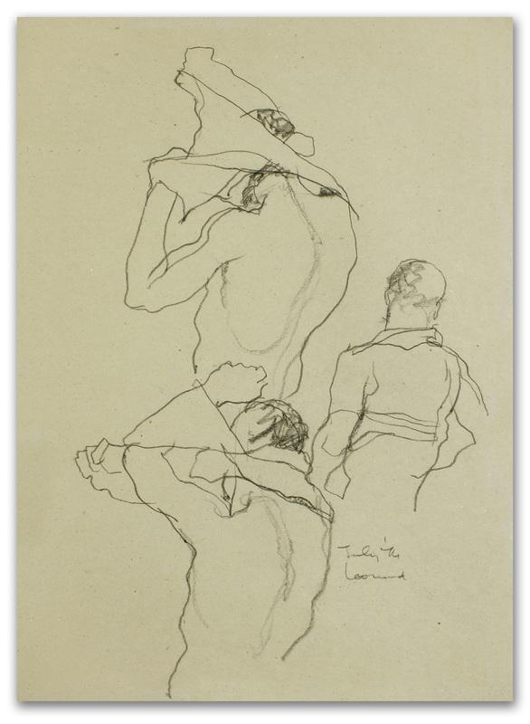 Michael LEONARD - Disegno Acquarello - Shirt off & on fast: back view x 3