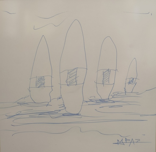 Manuel PAZ - Dibujo Acuarela - Menhires para la paz