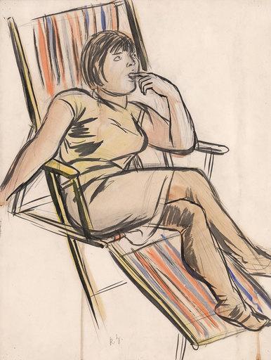 Karl HUBBUCH - Drawing-Watercolor - Marianne im Liegestuhl