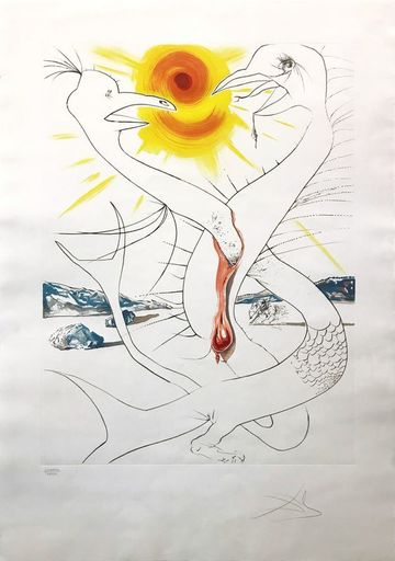 Salvador DALI - Estampe-Multiple - The Caduseus of Mars Nourished by the Ball of Fire of Jupite