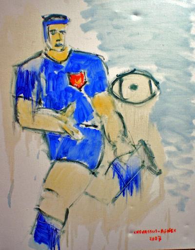 """Jean-Pierre CHEVASSUS-AGNES - Gemälde - coupe du monde de RUGBY 2007 """" la passe bleue """""""