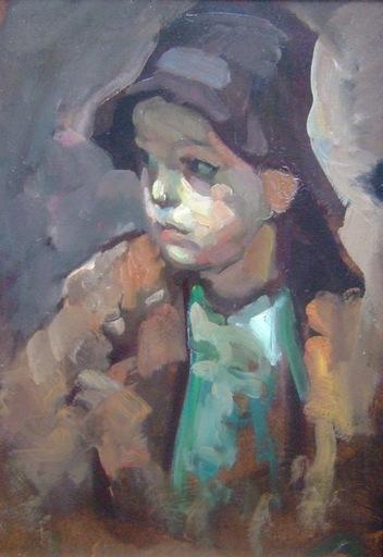 Eugène DE BIE - Peinture - Enfant de pêcheur breton